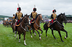 © Licensed to London News Pictures. 23/07/2018. Llanelwedd, UK. The King's Troops put on a spectacular display on the first day of the Royal Welsh Agricultural Show. The Royal Welsh Agricultural Show is hailed as the largest & most prestigious event of its kind in Europe. In excess of 200,000 visitors are expected this week over the four day show period. The first ever show was at Aberystwyth in 1904 and attracted 442 livestock entries. Photo credit: Graham M. Lawrence/LNP