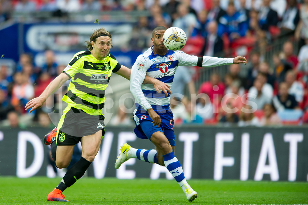 Michael Hefele of Huddersfield Town and Paul McShane of Reading during the EFL Sky Bet Championship Play-Off Final match between Huddersfield Town and Reading at Wembley Stadium, London, England on 29 May 2017. Photo by Salvio Calabrese.