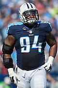 NASHVILLE, TN - OCTOBER 26:  Sammie Hill #94 of the Tennessee Titans walks off the field during a game against the Houston Texans at LP Field on October 26, 2014 in Nashville, Tennessee.  The Texans defeated the Titans 30-16.  (Photo by Wesley Hitt/Getty Images) *** Local Caption ***  Sammie Hill