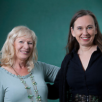 Alex Gray (left), the Scottish crime writer and Yrsa Sigurdardottir, the Icelandic writer, at the Edinburgh International Book Festival 2015.<br /> Edinburgh, Scotland. 26th August 2015 <br /> <br /> Photograph by Gary Doak/Writer Pictures<br /> <br /> WORLD RIGHTS
