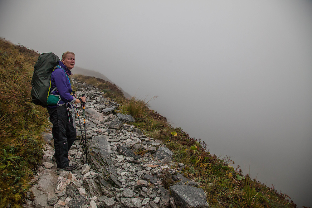 Nearing the top, the cloud and mist closed in and we gave up hopes for a view from the top.