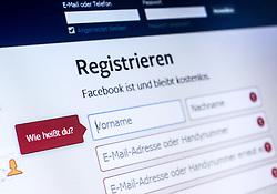 THEMENBILD - Webseite von Facebook, Registrieren, Wie heißt du?, aufgenommen am 29.01.2015, Österreich // Website of Facebook in German, Austria on 2015/01/29. EXPA Pictures © 2015, PhotoCredit: EXPA/ JFK