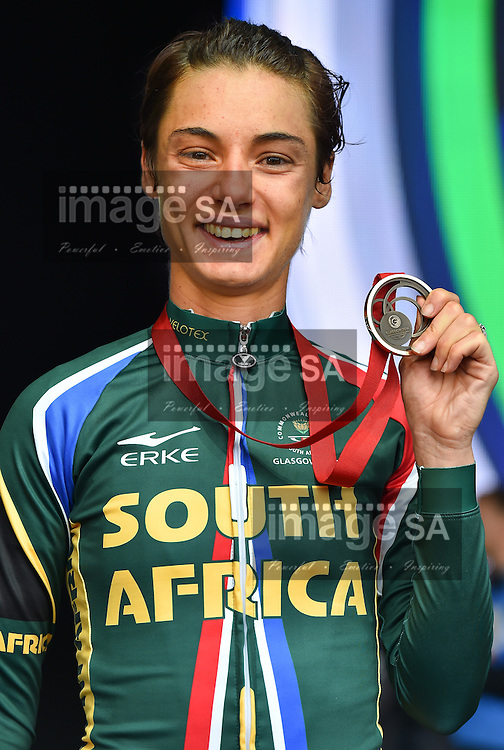 GLASGOW, SCOTLAND - AUGUST 03: Ashleigh Pasio of South Africa with her bronze medal in the women's cycling road race during day 11 of the 20th Commonwealth Games on the Glasgow road course on August 03, 2014 in Glasgow, Scotland. (Photo by Roger Sedres/Gallo Images)