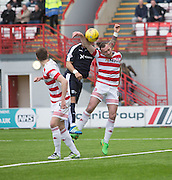 Penalty shout as Hamilton&rsquo;s Darian MacKinnon handles while compteing in the air with Dundee&rsquo;s Kane Hemmings - Hamilton v Dundee, Ladbrokes Scottish Premiership at New Douglas Park<br />  <br />  - &copy; David Young - www.davidyoungphoto.co.uk - email: davidyoungphoto@gmail.com
