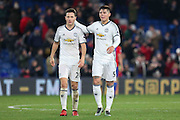 Ander Herrera Midfielder of Manchester United and Marcos Rojo Defender of Manchester United celebrate during the Premier League match between Crystal Palace and Manchester United at Selhurst Park, London, England on 14 December 2016. Photo by Phil Duncan.