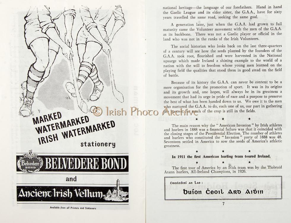 All Ireland Senior Hurling Championship Final,.02.09.1962, 09.02.1962, 2nd September 1962,.Minor Tipperary v Kilkenny, .Senior Wexford v Tipperary, Tipperary 3-10 Wexford 2-11, ..Belvedere Bond, Ancient Irish Vellum, ..1911 First American Hurling team toured Ireland,