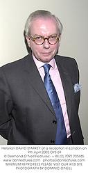 Historian DAVID STARKEY at a reception in London on 9th April 2002.OYS 69