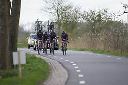 CANYON//SRAM Racing riders approach a sharp corner during Stage 2 of the Healthy Ageing Tour - a 19.6 km team time trial, starting and finishing in Baflo on April 6, 2017, in Groeningen, Netherlands.