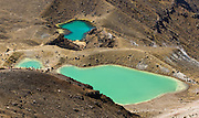 """Emerald Lakes, on the Tongariro Crossing, Tongariro National Park, North Island, New Zealand. In 1990 and 1993, UNESCO honored Tongariro National Park as a World Heritage Area and Cultural Landscape. Tongariro National Park served as a location for fictional Mordor and Mount Doom in the """"Lord of the rings"""" Motion Pictures."""