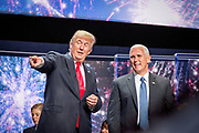 Donald J. Trump and his running mate Mike Pence celebrate on stage after being officially nominated as Republican Presidential Candidate and Vice President Candidate at the Republican National Convention in Cleveland.