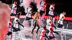 February 2, 2020, Miami Gardens, FL, USA: Jennifer Lopez performs during the Pepsi Super Bowl LIV Halftime Show at Hard Rock Stadium in Miami Gardens, Fla., on Sunday, Feb. 2, 2020. (Credit Image: © TNS via ZUMA Wire)