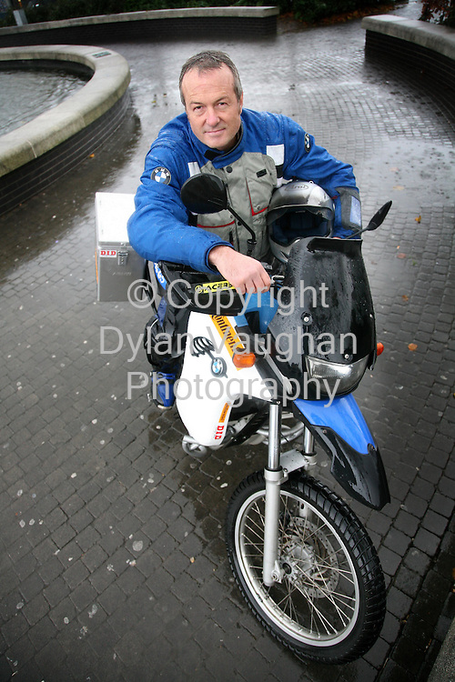 24/11/2006.Hugh Bergman pictured on his BMW motorcycle which he is going to ride from Kilkeny to Capetown..Picture Dylan Vaughan.