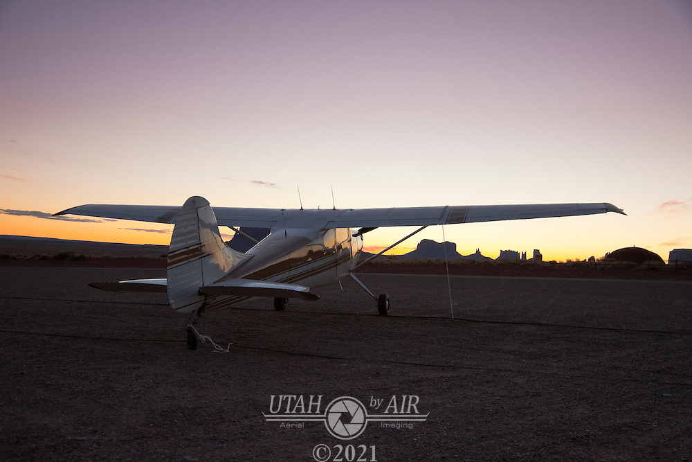 Cessna 170b tied down at Gouldings in Monument Valley