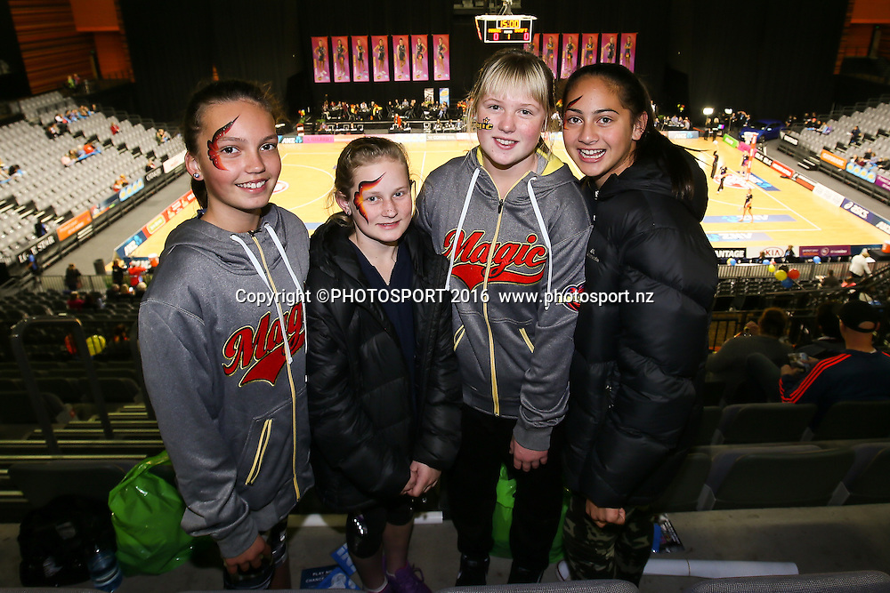 Waikato BOP Magic fans ahead of the ANZ Netball Championship semi final between the Waikato BOP Magic and the NSW Swifts, played at Claudelands Arena, Hamilton, New Zealand on Monday 25 July 2016.  Copyright Photo: Bruce Lim / www.photosport.nz