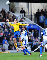 Edward Upson of Bristol Rovers and Ben Reeves of Charlton Athletic compete for the highball -Mandatory by-line: Nizaam Jones/JMP- 16/03/2019 - FOOTBALL - Memorial Stadium - Bristol, England - Bristol Rovers v Charlton Athletic - Sky Bet League One