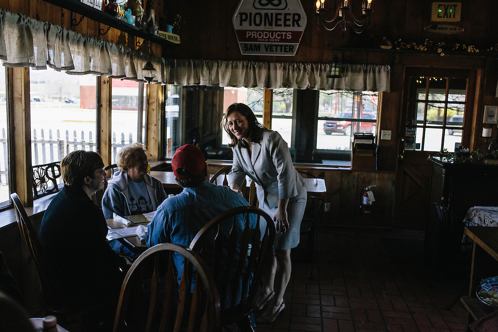 West Virginia Secretary of State Natalie Tennant greets patrons at O'Neill's Diner in Moorefield, W.V. on Wednesday, April 16, 2014. Tennant is running for a US Senate seat in West Virginia against Republican Rep. Shelley Moore Capito.