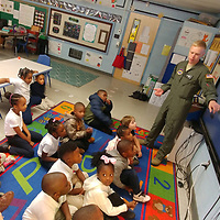 Lt. Luke Hartings, who is a pilot in training at Columbus Air Force Base, explains a little bit about being in the U.S. Air Force to Aberdeen Elementary School kindergartners Nov. 12 as part of a lesson about Veteras Day.