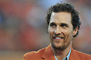 AUSTIN, TX - OCTOBER 18:  Matthew McConaughey looks on before kickoff between the Texas Longhorns and Iowa State Cyclones on October 18, 2014 at Darrell K Royal-Texas Memorial Stadium in Austin, Texas.  (Photo by Cooper Neill/Getty Images) *** Local Caption *** Matthew McConaughey