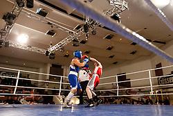 29.10.2011, Stadtsaal, Lienz, AUT, Dolomiten Box Turnier 2011, im Bild Mikael Gagajev (AUT, R) im halb-Schwergewichts Kampf bis 81 Kg gegen Gianluca Rosciglione (ITA, L) // Mikael Gagajev of Austria ( R ) during half-heavyweight boxing fight against Gianluca Rosciglione of Italy ( L ) at Dolomite Boxing tournament 2011 at Stadtsaal in Lienz, Austria on 29/10/2011. EXPA Pictures © 2011, PhotoCredit: EXPA/ Johann Groder
