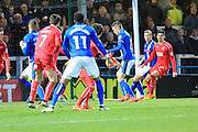 GOAL Matty Lund scores for Rochdale 2-0 during the EFL Sky Bet League 1 match between Rochdale and Swindon Town at Spotland, Rochdale, England on 19 November 2016. Photo by Daniel Youngs.