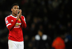 Anthony Martial of Manchester United applauds the fans at the final whistle  - Mandatory byline: Jack Phillips/JMP - 07966386802 - 28/11/2015 - SPORT - FOOTBALL - Leicester - King Power Stadium - Leicester City v Manchester United - Barclays Premier League