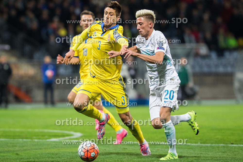 Yevhen Khacheridi (UKR) vs Kevin Kampl (SLO) during the UEFA EURO 2016 Play-off for Final Tournament, Second leg between Slovenia and Ukraine, on November 17, 2015 in Stadium Ljudski vrt, Maribor, Slovenia. Photo by Ziga Zupan / Sportida