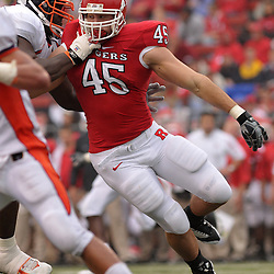 Sept 27, 2008; Piscataway, NJ, USA; Rutgers defensive end Alex Silvestro (45) battles for position during the first half of his team's 38-0 victory over the Morgan State Bears.