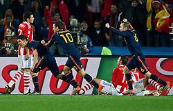 03-07-2010 VOETBAL: FIFA WORLDCUP 2010 SPANJE - PARAGUAY: JOHANNESBURG<br /> Kwartfinale WC 2010 David Villa of Spain, Cesc Fabregas of Spain and Andres Iniesta of Spain celebrate after scoring 1-0<br /> ©2010-FRH- NPH/ Vid Ponikvar (Netherlands only)