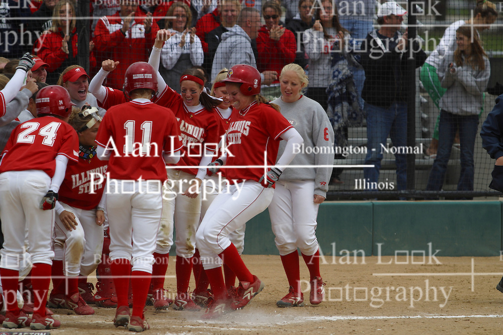 01 May 2005..The 'Birds celebrate a grand slam by Stacy Birk in the 2nd inning that puts them in the lead 8-2.  The Panthers never regained the lead....ISU Redbirds V UNI (Northern Iowa) Panthers.  Illinois State University, Normal IL