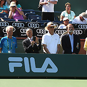 Vic Braden is honored during a ceremony on Stadium 1 at the 2015 BNP Paribas Open in Indian Wells, California on Thursday, March 19, 2015.<br /> (Photo by Billie Weiss/BNP Paribas Open)