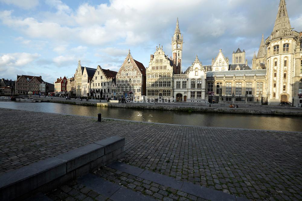 Buildings along the river, Leie River, Graslei, Ghent, Belgium