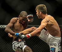 CARNIVAL CITY, JOHANNESBURG, SOUTH AFRICA - 26 FEBRUARY 2014: BALDWIN MDLALOSE vs DONNOVAN WILKEN in action during EFC 27 inside Carnival City, Johannesburg, South Africa. (Photo by Anton Geyser)