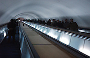 Pyongyang, North Korea.<br /><br />Going underground. The Pyongyang metro is deep, as modelled on the Moscow metro, it also serves as a bomb shelter. The escalator ride down takes two minutes.<br /><br />Picture Credit: Dermot Tatlow
