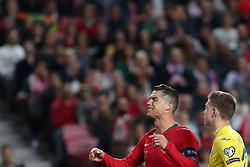 March 22, 2019 - Lisbon, Portugal - Portugal's forward Cristiano Ronaldo reacts during the UEFA EURO 2020 group B qualifying football match Portugal vs Ukraine, at the Luz Stadium in Lisbon, Portugal, on March 22, 2019. (Credit Image: © Pedro Fiuza/NurPhoto via ZUMA Press)