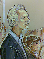 Wikileaks Founder Julian Assange appears at Westminster Magistrates Court on 7th Dec 2010 to face rape charges