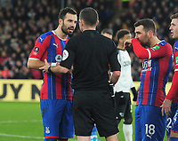 Football - 2019 / 2020 Emirates FA Cup - Third Round: Crystal Palace vs. Derby County<br /> <br /> Luka Milivojevic of Palace waits for Referee, Michael Oliver's decision which resulted in the card card after reviewing the VAR, at Selhurst Park.<br /> <br /> COLORSPORT/ANDREW COWIE