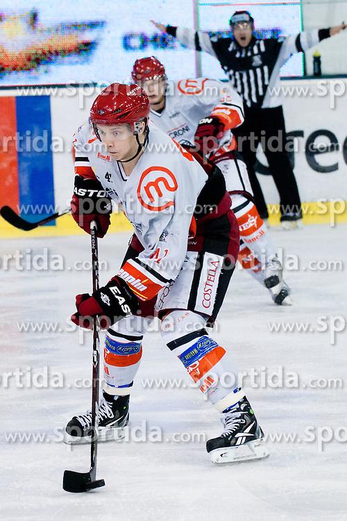 Antti Pusa (HK Acroni Jesenice, #41) during ice-hockey match between HDD Tilia Olimpija and HK Acroni Jesenice in 23rd Round of EBEL league, on November 20, 2011 at Hala Tivoli, Ljubljana, Slovenia. HDD Tilia Olimpija won 5:2. (Photo By Matic Klansek Velej / Sportida)