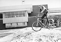 Greg Potvin riding a snowbank on the campus of Northern Michigan University in Marquette, MI, 1986
