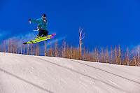 Skiing, Snowmass Terrain Park, Snowmass (Aspen) ski resort, Colorado USA.