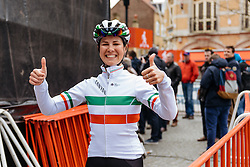 Thumbs up! Elena Cecchini is ready to race - Women's Gent Wevelgem 2016, a 115km UCI Women's WorldTour road race from Ieper to Wevelgem, on March 27th, 2016 in Flanders, Belgium.