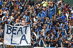 August 21, 2010; Santa Clara, CA, USA;  San Jose Earthquakes fans cheer before the game against the Los Angeles Galaxy at Buck Shaw Stadium. San Jose defeated Los Angeles 1-0.