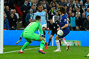 A cross by Raheem Sterling (7) of Manchester City deflects off David Luiz (30) of Chelsea as the ball is crossed in to the box during the Carabao Cup Final match between Chelsea and Manchester City at Wembley Stadium, London, England on 24 February 2019.
