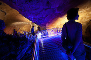 Hwanseon Donggul limestone cave with 2 km of coloured spotlighted steel stairways for visitors. Assumed that created 530 million years ago in Paleozonic era, its one of the largest in Asia, cathedral-sized caverns and pools / Daei-ri, Samcheok city, South Korea, Republic of Korea, KOR, 06 October 2009.