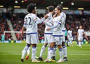 Chelsea Midfielder Willian (22) celebrate after making it 1-3 during the Barclays Premier League match between Bournemouth and Chelsea at the Goldsands Stadium, Bournemouth, England on 23 April 2016. Photo by Adam Rivers.