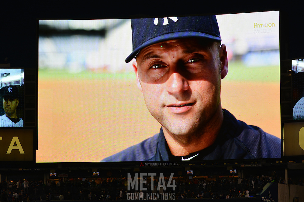 Derek Jeter's image is displayed on the Yankee Stadium video screen moments before his final game.