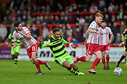 Forest Green Rovers Keanu Marsh-Brown(7) takes on the Stevenage defence during the EFL Sky Bet League 2 match between Stevenage and Forest Green Rovers at the Lamex Stadium, Stevenage, England on 21 October 2017. Photo by Adam Rivers.