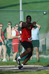 (Sherbrooke, Quebec---10 August 2008) Eric Braithwaite competing in the hammer throw at the 2008 Canadian National Youth and Royal Canadian Legion Track and Field Championships in Sherbrooke, Quebec. The photograph is copyright Sean Burges/Mundo Sport Images, 2008. More information can be found at www.msievents.com.