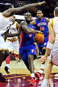 Feb. 9, 2011; Cleveland, OH, USA; Detroit Pistons point guard Rodney Stuckey (3) drives past Cleveland Cavaliers power forward J.J. Hickson (21) during the fourth quarter at Quicken Loans Arena. The Pistons beat the Cavaliers 103-94 for Cleveland's 26th loss in a row. Mandatory Credit: Jason Miller-US PRESSWIRE