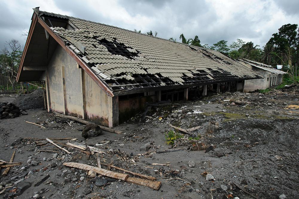 A school building damaged during a pyroclastic flow, Kepuharjo, Cangkringan, nr Yogyakarta, Java, Indonesia.