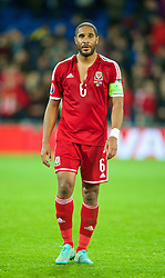 CARDIFF, WALES - Friday, October 10, 2014: Wales' captain Ashley Williams looks dejected after his injury time miss during the goalless draw with Bosnia and Herzegovina during the UEFA Euro 2016 qualifying match at the Cardiff City Stadium. (Pic by David Rawcliffe/Propaganda)